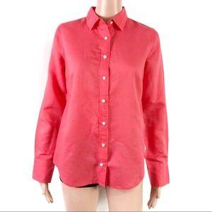 J. Crew Black Label Coral Linen Button Down Shirt